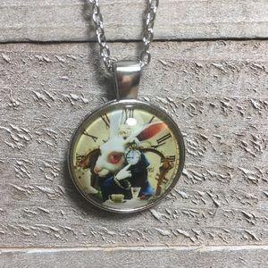 Alice in Wonderland Cabochon Silver Necklace